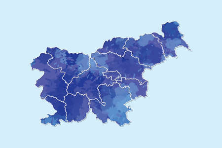 Slovenia watercolor map vector illustration of blue color with border lines of different divisions or regions on light background using paint brush in page