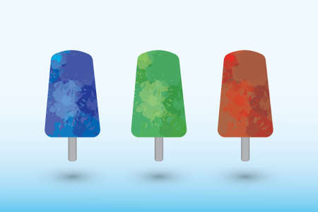 A set of ice creams made of watercolor  on white background of different colors vector illustration