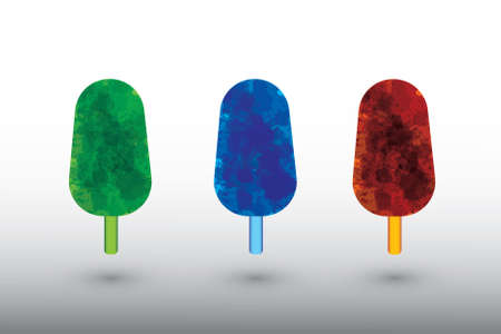 A set of watercolor ice creams vector on white background of different colors illustration 向量圖像