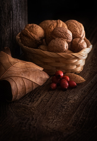 Still Life with Walnut, Leaf and Rosehip. photo