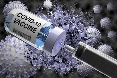 Vaccine illustration. Bottle and syringe with needle, virus illustration in the background.