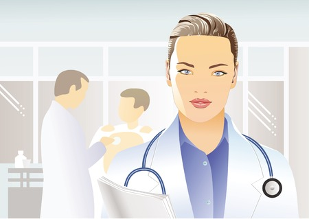 urologist: Portrait of beautiful female doctor in a white medical coat with a stethoscope and papers on the background of the situation in the clinic, hospital Illustration