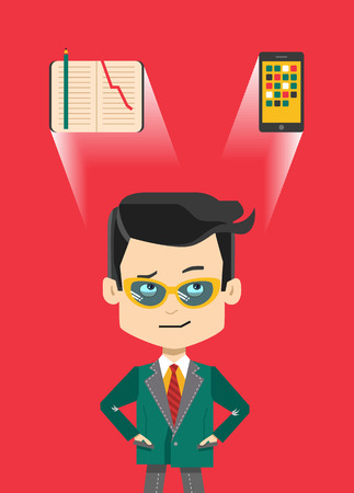 conscience: Thinking confused cartoon businessman in glasses - what to use paper notepad or digital gadget
