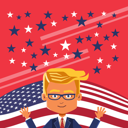 confidently: Against flag. Based on the results of vote billionaire confidently wins and will become the 45th President of USA.