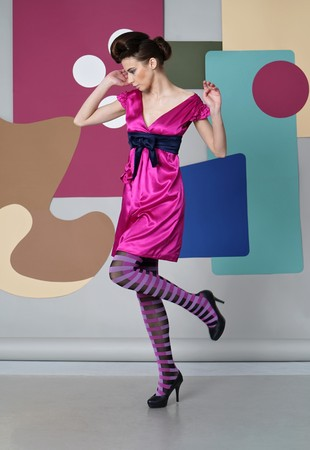 Egg Chair Roze.Danish Design She Dressed In Short Pink Dress Striped Tights