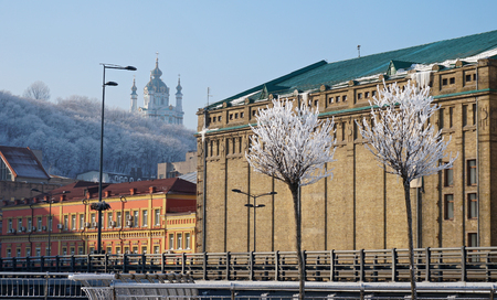 beautiful trees in the snow against the blue sky, buildings, metal fence and St. Andrew church