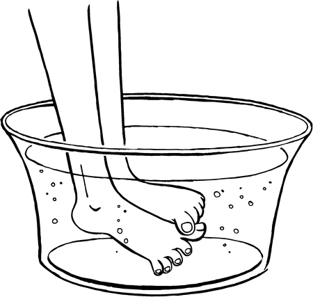 Illustration of feet being washed in a basin. A wash basin is filled with water.