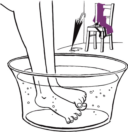Illustration of feet being warmed up in a foot pan. The pan is filled with warm water.