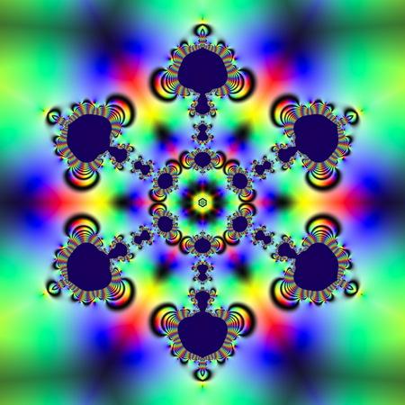 Fractale 2D-textuur. Computer gegenereerd. Mooie wiskundige patronen, digitaal gevisualiseerd. Mandelbrot-set, scherpe randen verlopende hellingen. Sneeuwvloksymmetrie (zeshoekig)
