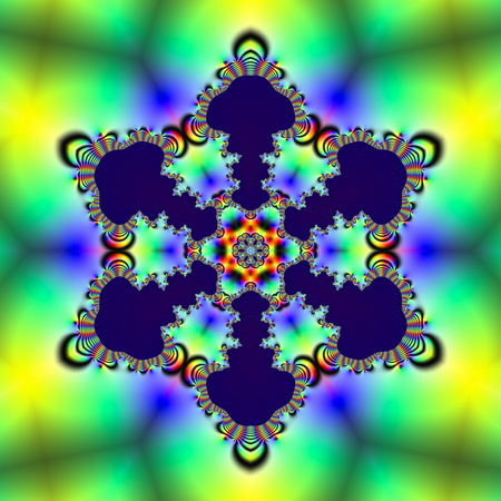 Fractal 2D texture. Computer generated. Beautiful mathematical patterns, visualized digitally. Mandelbrot set, sharp edges smooth gradients.  Snowflake symmetry (hexagonal)