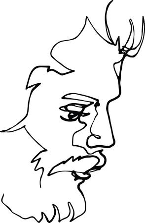 Portret van een man met een baard Vector Illustratie
