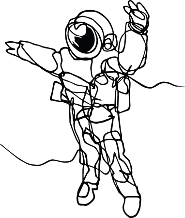 Astronaut in spacesuit, planet, spacecraft, car, cabriolet in space. Illustration inspire by recent space odyssey. Continuous line minimalist drawing of star man. Illustration