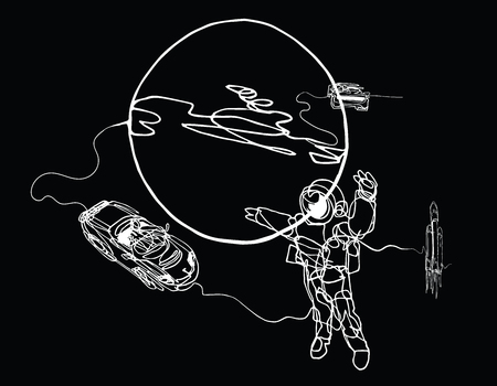 Astronaut in spacesuit, planet, spacecraft, car, cabriolet in space. Illustration inspire by recent space odyssey. Continuous line minimalist drawing on balck Illustration