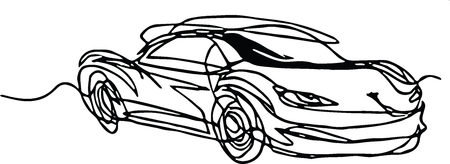 Roadster car cabriolet continuous line drawing - minimalist concept, black line on white Ilustracja