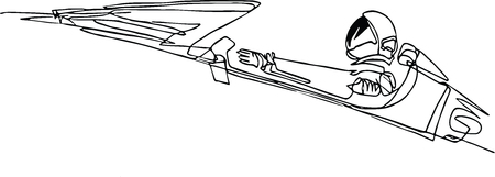Starman astronaut on cabriolet in space. Illustration inspired by modern space odyssey. Continuous line minimalist drawing