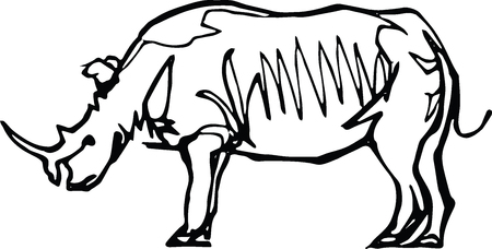 Rhinoceros, side view. Africa, Black liner continuous line drawing. Wildlife, animal 向量圖像