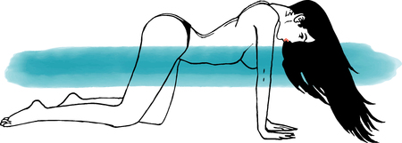 Women with Long black hair on wind in a doggy style sexy pose, minimalist line drawing, black liner with watercolor emerald brush wet line in background (ocean aqua)