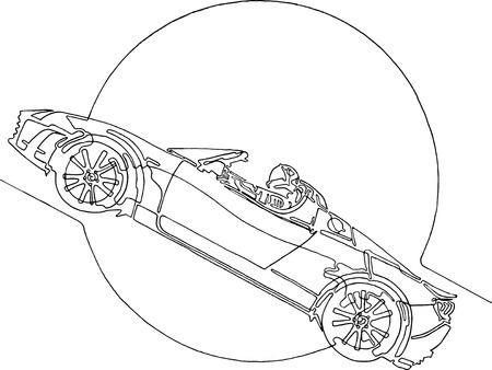 Starman astronaut on cabriolet in space. Illustration inspired by modern space odyssey. Continuous line minimalist drawing.  Circle as symbol for Sun, Ears, Moon, Mars or other Planet