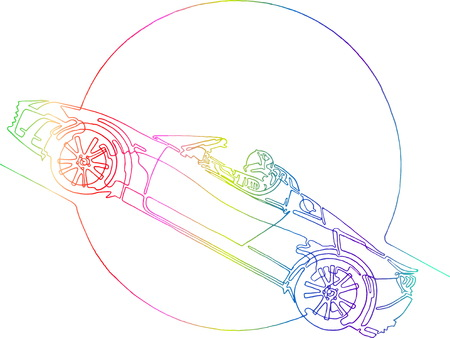 Starman astronaut on cabriolet in space. Illustration inspired by space odyssey. Continuous colorful punchy line minimalist drawing.  Circle for Sun, Ears, Moon, Mars, planet. Transparent background Illustration