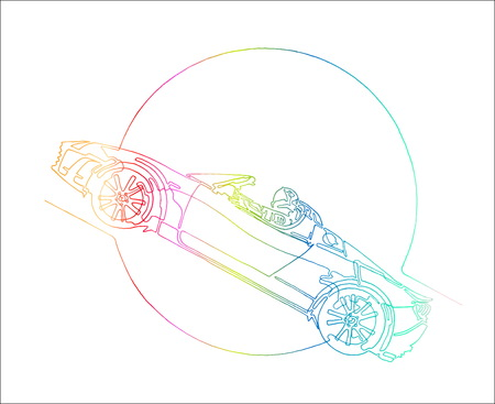 Starman astronaut on cabriolet in space. Illustration inspired by modern space odyssey. Continuous rainbow punchy line minimalist drawing. Circle as symbol for Sun, Ears, Moon, Mars or other Planet.
