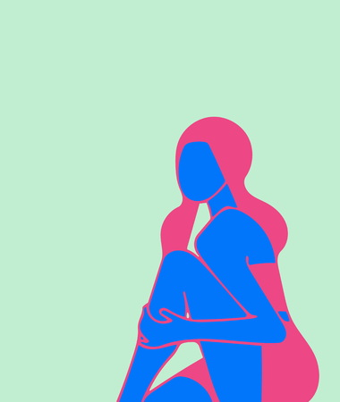 A sitting girl, she holds her hand to her bare knee, an illustration, on the theme of fashion, calm, deliberate contemplation. Concepts peace, balance, rest, bright punchy pastel colors.