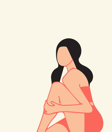 A sitting girl, she holds her hand to her bare knee, an illustration, on the theme of fashion, calm, deliberate contemplation. Concepts, peace, balance, rest, natural punchy colors.