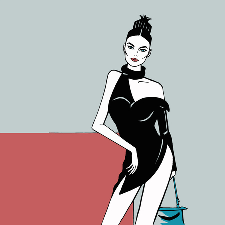 Fashion girl in a short black dress, Hairstyle - a bunch of pineapple, street fashion, sexy style, open shoulder, bare legs, minimalistic comic style.