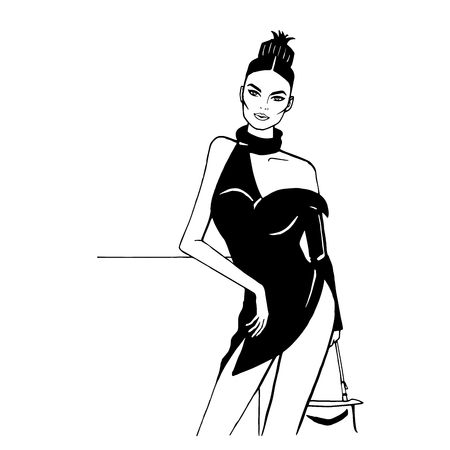 Fashion girl in a short black dress, Hairstyle - a bunch of pineapple, street fashion, sexy style, assimmetry, open shoulder, bare legs, minimalistic comic style