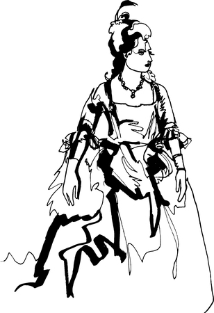Medieval woman in a lavish ball gown. She stands in a proud posture, like a raised lady from a high society, a laconic linear black continuous line, round neck necklace Illustration