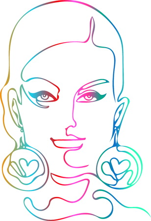 Fashionable face of a woman with big earrings. Round massive ornaments on the ears, a symbol  a heart, drawn by one continuous line, a multicolored gradient fill, a white background