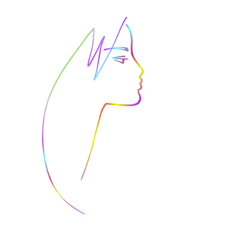 A Minimalistic female profile, several rainbow punchy pastels lines.
