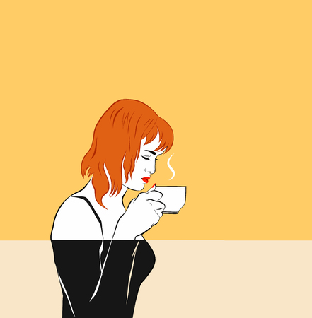 A red-haired girl is trying (sniffing) coffee, holding a cup by the face. Meditation, a hot drink. Graphics, minimalism, comics. Love of drink, doubt, relish
