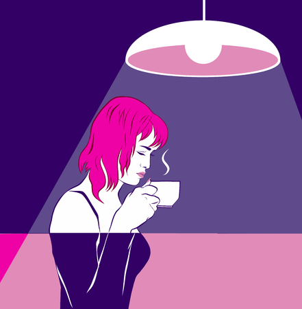 A pink haired girl is trying (sniffing) coffee, holding a cup near face. Meditation, a hot drink. Graphics,comics. Love of drink, doubt, relish. ultra violet, lamp in cafe