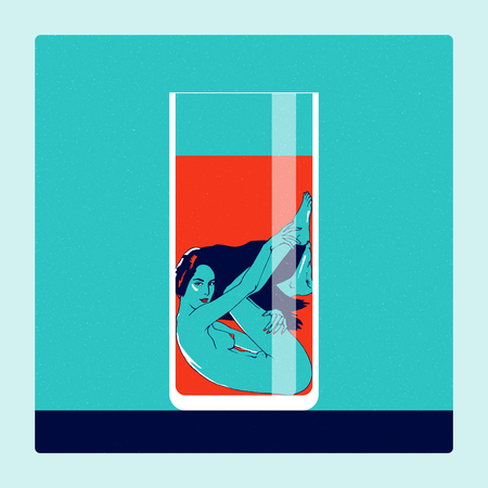 Naked woman, immersed in a glass with red soft drink. Conceptual illustration on theme of temptation. The punchy warm and cold complementary colors, minimalism, contemporary art
