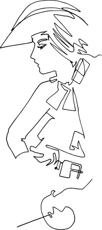 Woman musketeer, minimalistic illustration, one continuous line. Sword, belt, medieval hat, retro, historical costume, adventure, romance Vectores