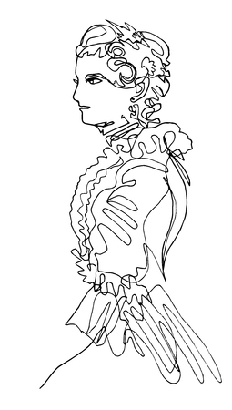 Woman in medieval dress with frill, beautiful hairdo, attire for ball, retro style, minimalism, single continuous line, countess