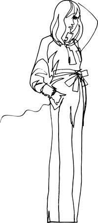 Model shows clothes, 1970 style, long flared trousers to floor, belt with bow, blouse with long cuffs and many buttons, arm in hair, fashionable pose, eye covered with hair, minimalist continuous line Illustration