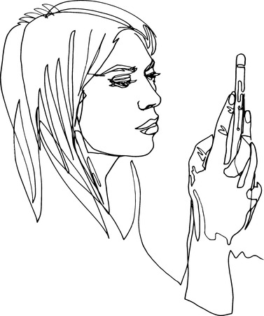 A modern woman with smartphone, finger navigation, attentively looks at screen, holds hand with mobile device, active interesting life, illustration with a continuous line, minimalism. Illustration