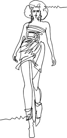 Woman demonstrating dresses walking along the catwalk illustration one continuous line lush hairdress short dress bare feet boots sweeping gait modern style .. Illustration