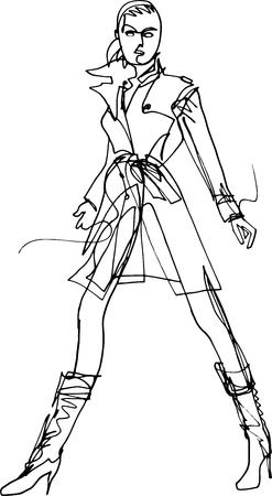 Il modello mostra la giacca che cammina con sicurezza lungo la passerella, illustrazione minimalista con una linea continua, una marcia globale, stivali sotto il colletto rialzato al ginocchio, capelli corti, moda cittadina Vettoriali