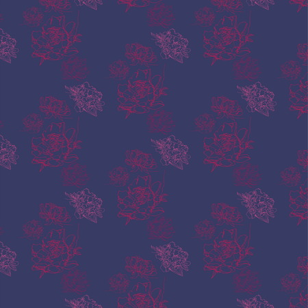 A floral ornament made up of peony flowers, an elegant composition, seamless pattern, suitable for wallpapers, pattern on fabric, fashion, option for dress, purple, crimson, red, pink, blue shades Illustration