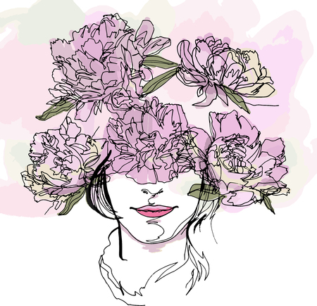 The head of a girl with a wreath of flowers, fashion-illustration. Peony flowers, minimalist, continuous line, flora fauna, beauty, fashion, aesthetics, plants, modern art, emotional, warm, colors Foto de archivo - 105802642