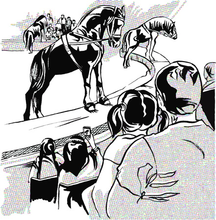 Circus, father and daughter watching the performance of trained horses, other viewers, arena, minimalist illustration in the style of a comic strip Иллюстрация