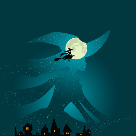 Halloween theme: beautiful witch flies on broomstick over town buildings against the background of deep aqua blue night sky and full moon, double exposure style