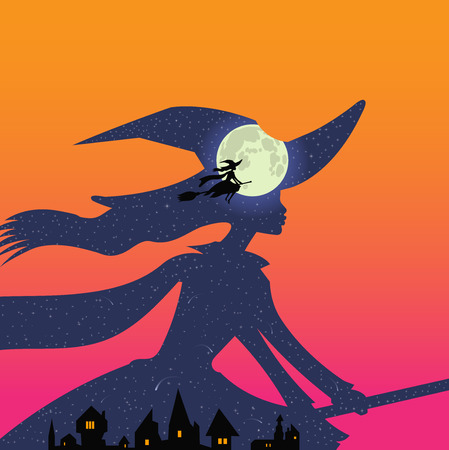Halloween theme: double exposure, beautiful witch flies on broomstick over town buildings against background of deep aqua blue night sky and full moon, double exposure style, sunset, orange, magenta