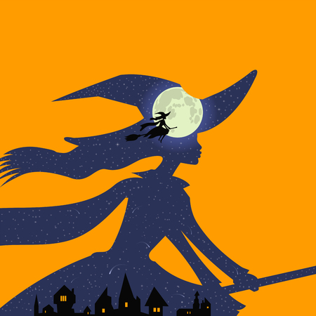 Halloween theme: double exposure, beautiful witch flies on broomstick over town, blue night sky and full moon, double exposure style, sunset, orange background