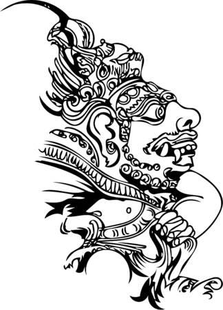 발리 모티프, 발리 섬의 돌 우상, 라인 아트, 지역 교회의 의례적 인물 스타일의 일러스트레이션 벡터 (일러스트)