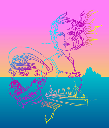 Man and woman in love. Captain and his beloved woman, Titanic, icebergs, adventures. Color warm and cold gradients. Continuous line style. Minimalism traveling, ships, sea, ocean. Best human qualities