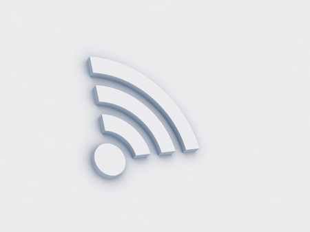 wifi icon on white background, 3d model button, blue tinted Stock fotó