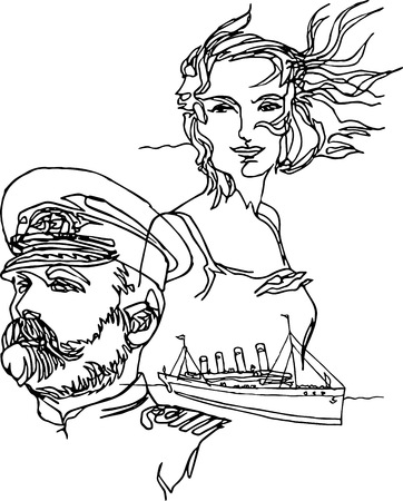 Man and woman in love. Captain and his beloved woman, ship, icebergs, adventures. Continuous line style. Minimalism traveling, ships, sea, ocean. Best human qualities